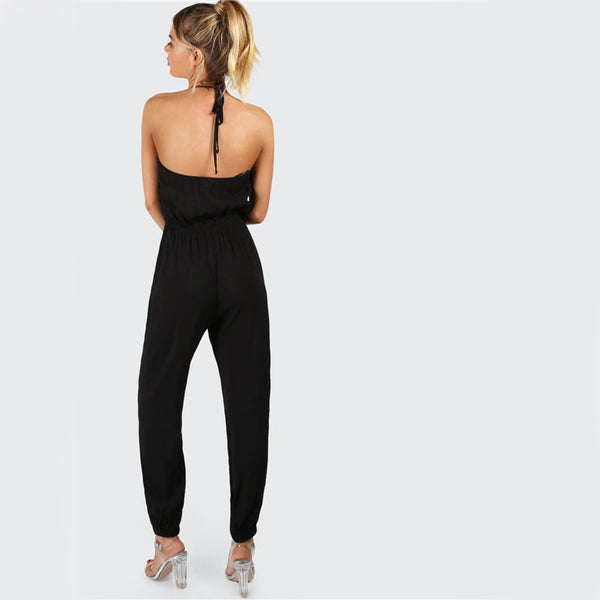 Elegant Black Halter Jumpsuit Surplice Casual Women Self Tie V Neck Jumpsuits Fashion Hot Sexy Backless Jumpsuit