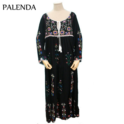 new embroidery bohemian cotton dress loose pattern leisure large flowers white purple color lady