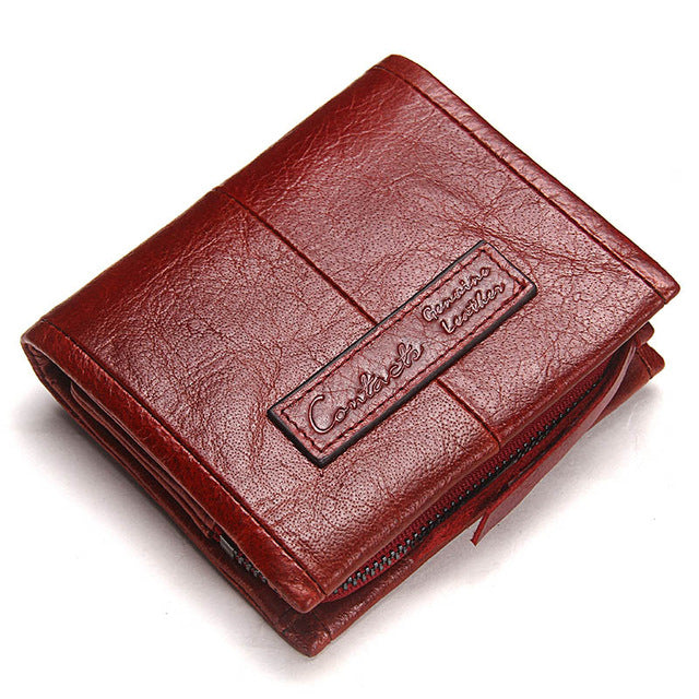 Contact'S Fashion Genuine Leather Women Wallet Small Standard Wallets Coin Bag Brand Design Lady Purse Card Holders Red Brown