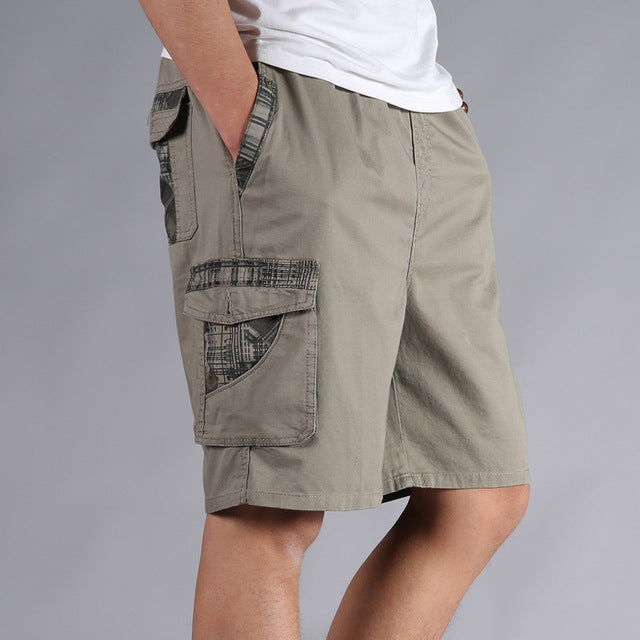 6fea96d710390 Men Shorts Summer Plus Size Cotton Elastic Waist Loose Army Green Male