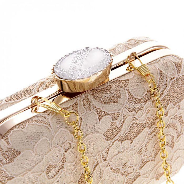 New Women Elegant Fashion Bag Lace Dinner Wedding Bridal Party Hand Bag Fashion Clutch Evening Bag Purse for Women Balestra