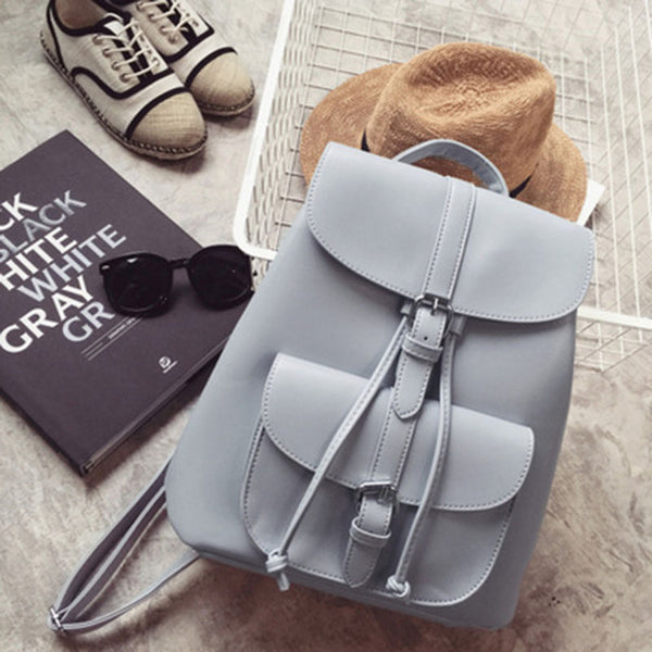 Women Backpack Vintage Leather Backpacks Drawstring Black Rucksack Brand Shoulder Bags For Teenage Girls Grey School Bag XA950H