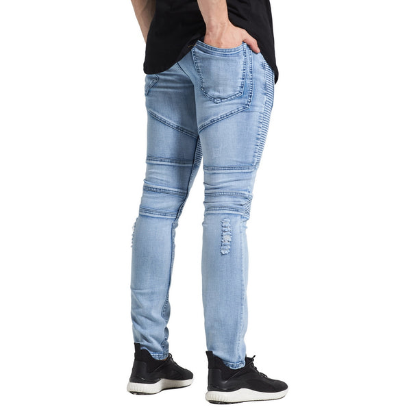 New Ripped Biker Jeans Classic Fashion Designer Brand Stretch Men's Skinny Pencil Jeans