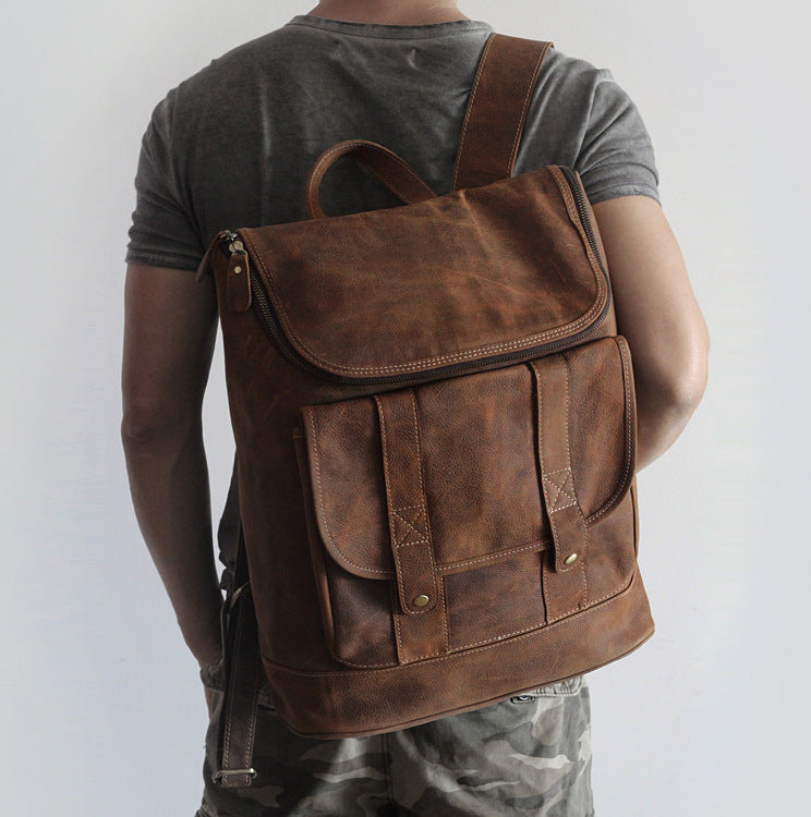 vintage unisex genuine leather backpack men/women all cow leather leisure travel knapsack 15 inch laptop cowhide field pack