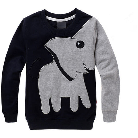 Autumn New Cartoon Elephant Printed Long Sleeve Children Sweater Boy Girl Pullover Top Shirts Sweatshirt Clothing