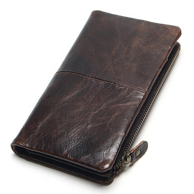 The New First Layer Of Real Leather Men's Oil Wax Retro High-Capacity Multi-Card Bit Long Wallet  Clutch Men Genuine