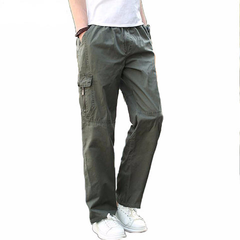 Men Cargo Pants Summer Overall Plus Size XXXL 4XL 5XL 6XL Baggy Army Green Pant For Workman Loose Fitness Khaki Pocket Trousers