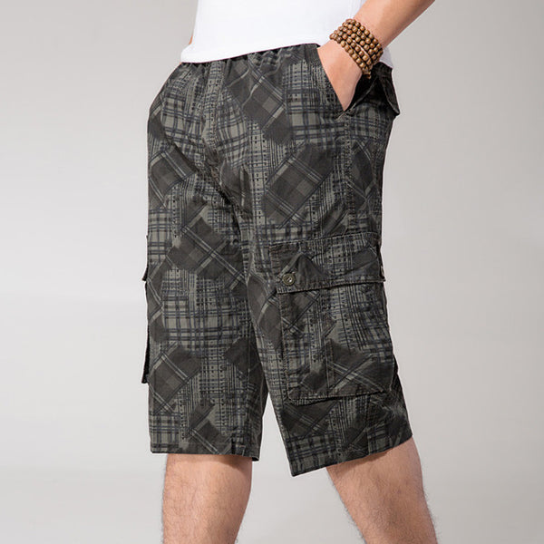 Thin Summer Short Man Multi-Pockets 4Xl 5Xl 6Xl Plus Size Casual Short-Pants Army Loose Elastic Waist Cargo Short Man A3374