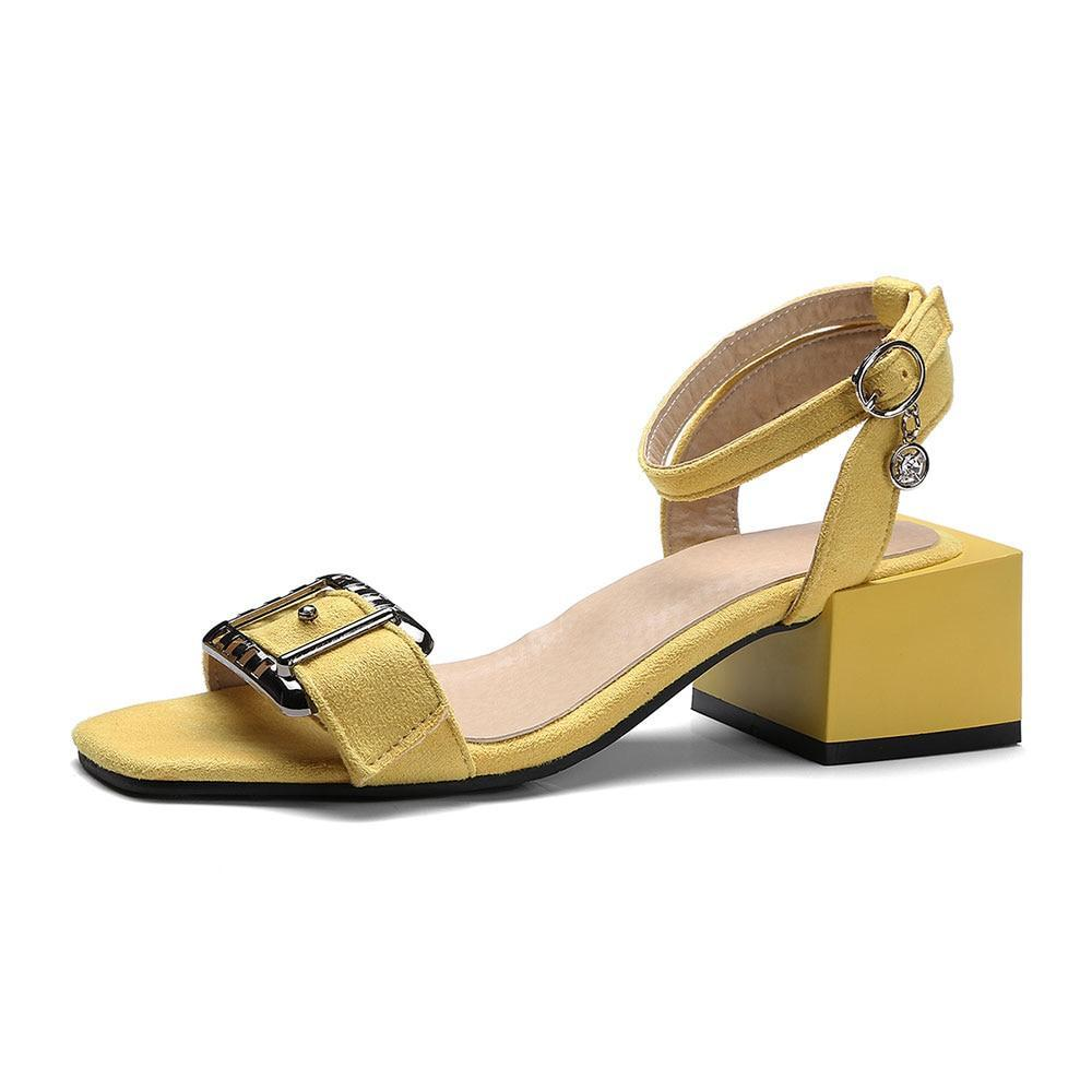 Women Shoes High Heels Sandals Summer Ankle Strap Chunky Heel Sandals  Buckle Ladies Shoes Yellow Green ...