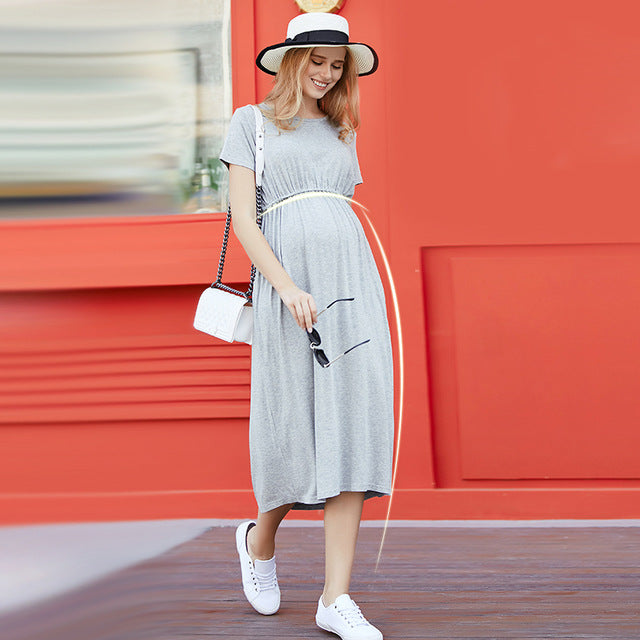 cb3523b64a9df Summer Maternity Dresses High Quality Clothes For Pregnant Women Short  Sleeve Long Dress Large Mount Of ...