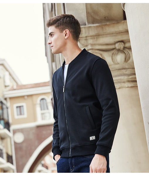 Warm thick fleece hoodies men brand clothing solid casual zipper sweatshirt male quality 100% cotton black 622215