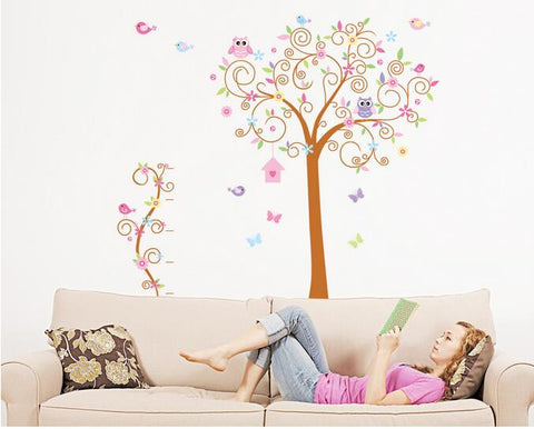 Large owl tree Children bedroom background decorative wall stickers in the household adornment wall to stick on the wall