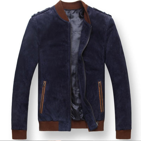 Men's blue motorcycle bomber men Genuine real Leather jacket