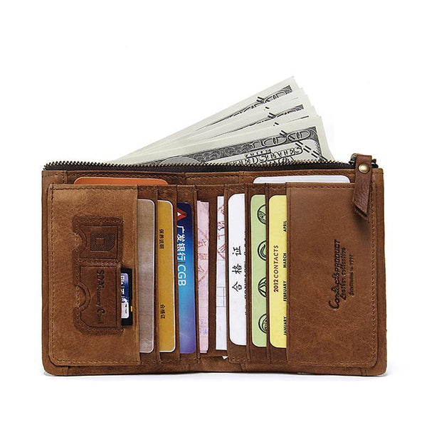 blocking Bifold Slim Genuine Leather Thin Wallets for Men Purse ID/Credit Card Holder Fashion New Short Wallet