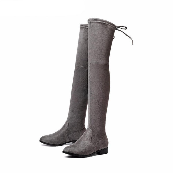 The Knee Boots Square Med Heel Women Boots Sexy Ladies Lace Up Stretch Fabric Fashion Boots Black Size 34-43