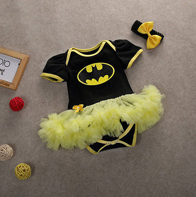 5bbaca83d11a Headband Baby Girls Toddler Summer Outfits Batman Romper Playsuit Costume  0-12M Childish Coveralls Rompers