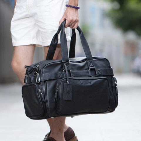 Fashion Leather Mens Travel Bags Large Capacity Waterproof Duffle Bag Vintage Hand Luggage Shoulder Bag