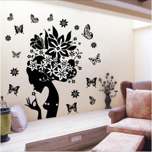 Beautiful Wall Sticke & Pretty Butterfly Flower Fairy Girl PVC Wall Sticker Home Decor Decals decorative vinyl Smile