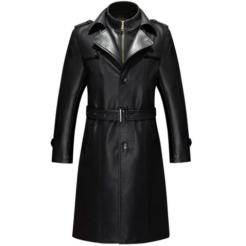 New Brand Winter Spring Long Jackets Man Slim Trench Coats Mens Single Breasted Leather Coats For Man Autumn Fleece Lining