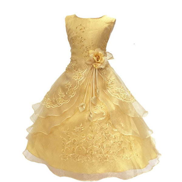 New Flower Girls Party Dress Embroidered Gownceremonial robe dress  Formal Bridesmaid Wedding Girl Christmas Princess robe