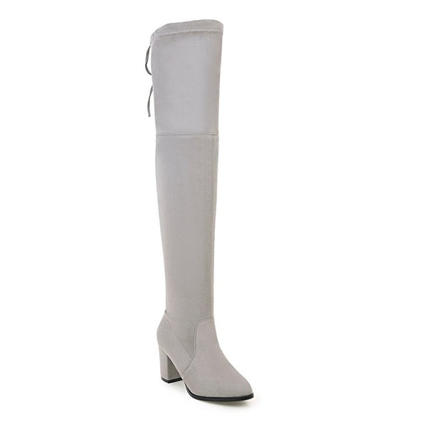 Ladies Autumn/Spring Shoes Square High Heel Women Over The Knee Boots Scrub Black Woman Motorcycle Boots Size 34-43
