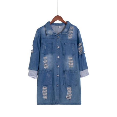 f642ad755a102 New Fashion Spring Autumn women long sleeve Roll Up jeans Coat female  casual Ripped long denim