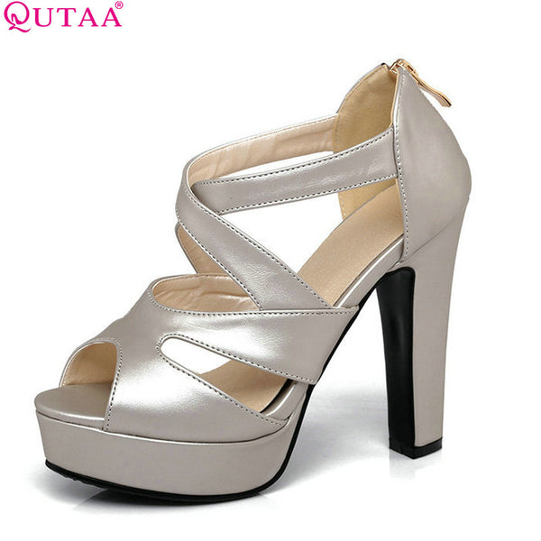 QUTAA 2017 Women Sandal Square High Heel Platform Women Shoes Black Zipper Peep Toe PU Leather Ladies Wedding Shoes Size 34-43