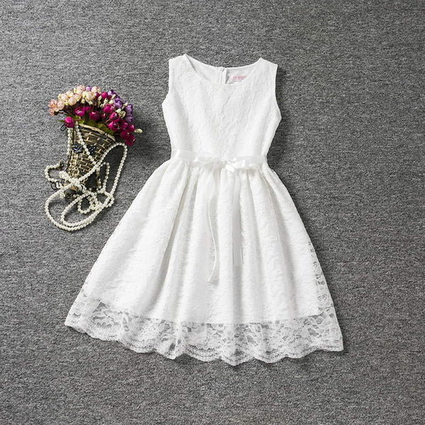 Fashion Flower Christening Lace Dress For Kids 4 to 10 Years Summer Party Dress Girls Children Bow Waistband Mini Tutu Dress
