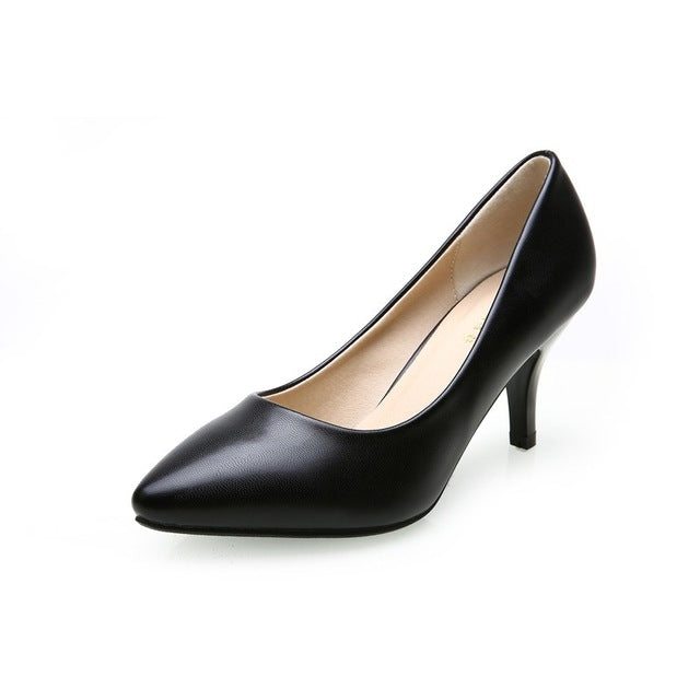 3353d6f4384 Fashion New High Heels Pumps Black Women Shoes Pump Girls Leather 7cm Thick  Heel Black Shoes for Office Lady