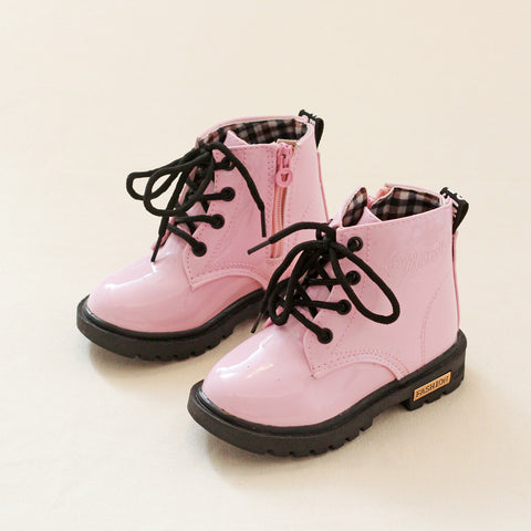 Children Martin boots Leather Girls Boots Lace-Up non-slip Kids shoes Kids Snow Boots Free shipping