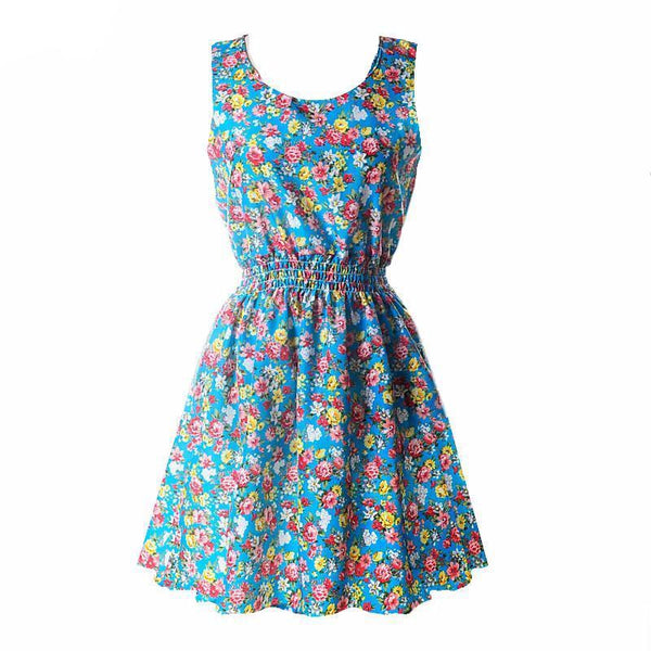 Women Sexy Chiffon Beach Dress Sleeveless Summer Sundress Floral Tank Mini Dresses 4 Colors