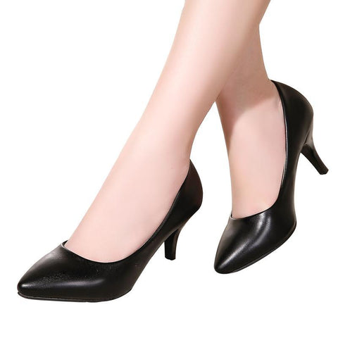 Fashion New High Heels Pumps Black Women Shoes Pump Girls Leather 7cm Thick Heel Black Shoes for Office Lady