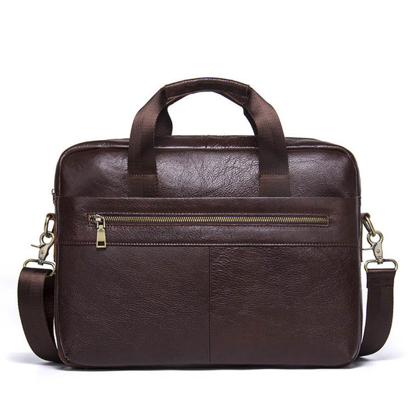 "Business Genuine Leather Men Briefcase Cowhide Men's Messenger Bags 14"" Laptop Business Bag Luxury Lawyer Handbag"