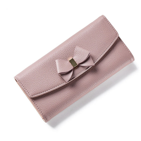 New Design Bow Women Long Wallet Solid Simple Evening Clutch Brand Lady Purse Female Phone Card Coin Pocket