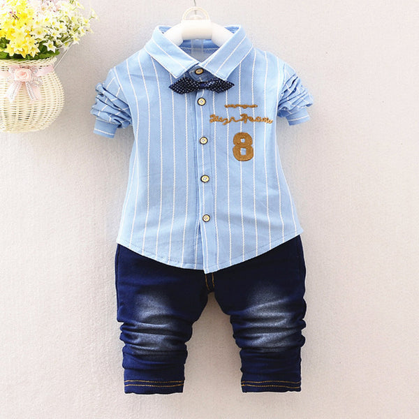 Summer Baby Boys Clothes Suits Gentleman Style Kids Lovely beard  Shirt+Pants 2 Pcs Infant Casual Suits bebes