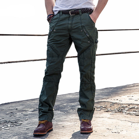Mens Cargo Pants With Zipper Pockets New Design High Quality Cotton Soldier Combat Trouse