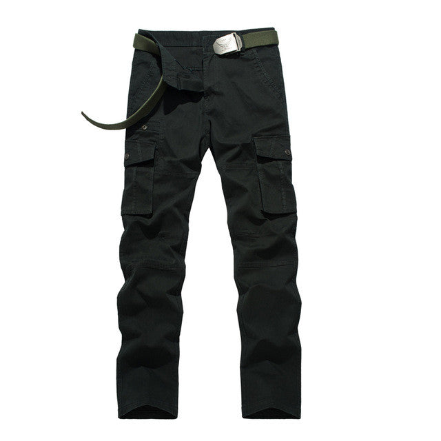 Men's Military Cargo Pants Black big Pocket 2017 spring Summer long trousers 100% Pure Cotton Full Length Overalls 8107F