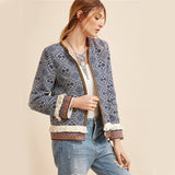 Tribal Embroidered Jacket Blue Vintage Fringe Tape Trim Women Autumn Coat Spring Long Sleeve Elegant Boho Jacket