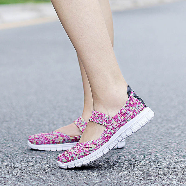 Summer Fashion Women Casual Shoes Light Breathable Handmade Women Woven Shoes Soft Comfortable  Women Shoes