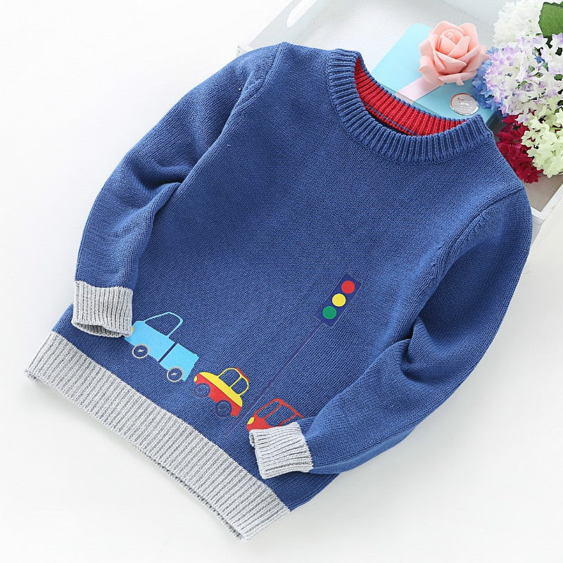 High Quality New Arrival Boy Sweater Children Clothing Cars Pattern Knitted Sweater Baby Boy Pullover Sweater Knitwear 2-5T Kids