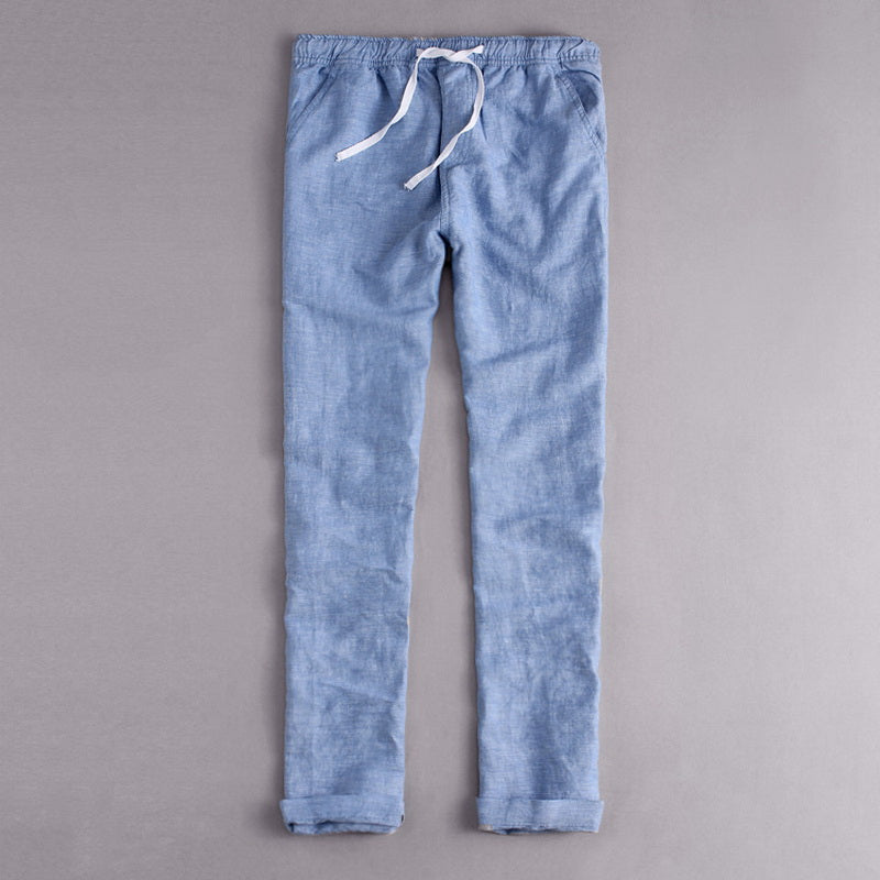 Italy Style Brand clothing fashion Loose waist long Pants men Casual blue trousers men cotton and linen mens pants summer Broek