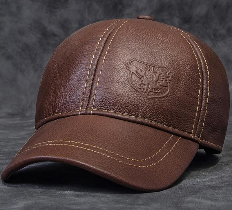Spring Male Genuine Leather Eagle Print 56-60CM Black/Brown Baseball Caps For Man Casual Street Glof Gorras Dad Hat JA119