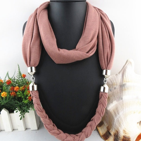 Fashion New Design Classic Long Fruit Grape& Beads Pendant Solid Polyester Winter Warm Scarves