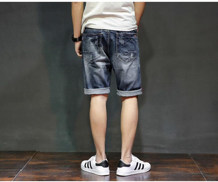 1c4fde6b66 ... Men's Flexible Denim Shorts Good Quality Men Cotton Holes Short Jeans  New Fashion Male Knee Length ...