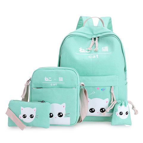 green cat backpacks for teenager school bag for girls set 4 green teenagers backpack mint green Japan Korean back pack nbxq128