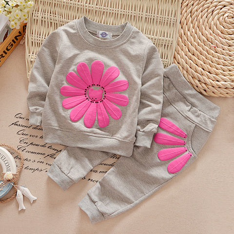 New spring autumn children's clothing suits sunflower children hoodies + pants children tracksuit boys clothes set