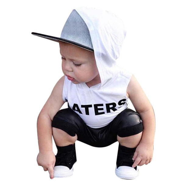 2pcs Kids Boys clothes set summer 2017 Toddler Kids Baby Boys Hooded Tops Hoodie T-shirt+ Shorts Outfit children Clothes Set