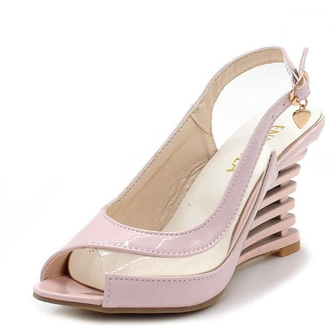 Wedges Heel Sandals Buckle Style Open Toe Shoes Transparent Women Summer Shoes Patent PU Sexy Summer Brand Shoes Woman