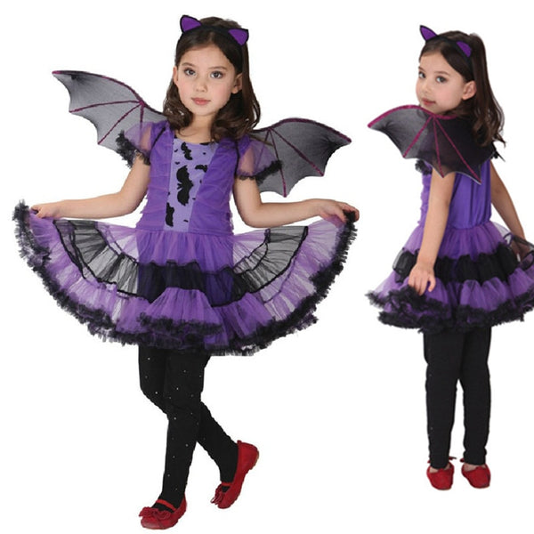 Fancy Masquerade Party Bat Cosplay Dress Witch Clothing Halloween Costume for Kids Girls with Wings Headband Girl Dresses