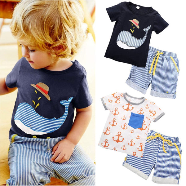 2 PCS Toddler Infant Kids Boy Clothes Short Sleeve Casual Tops T shirt Shorts Bottom Outfits Set Summer Sunsuit